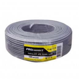 Кабель PROconnect UTP 4PR 24AWG, CCA, CAT5e, PVC, серый, бухта 100 м 01-0043-3-100