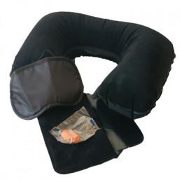 Подушка для шеи надувная Flyandtrip в комплекте черная