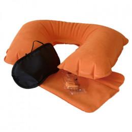 Подушка для шеи надувная Flyandtrip в комплекте оранжевая