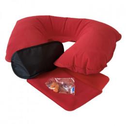 Подушка для шеи надувная Flyandtrip в комплекте красная