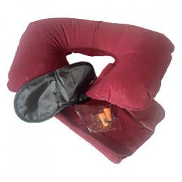 Подушка для шеи надувная Flyandtrip в комплекте бордовая