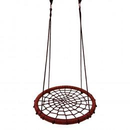 Качели гнездо детские подвесные уличные Baby grad 60 см черный красный с карабином
