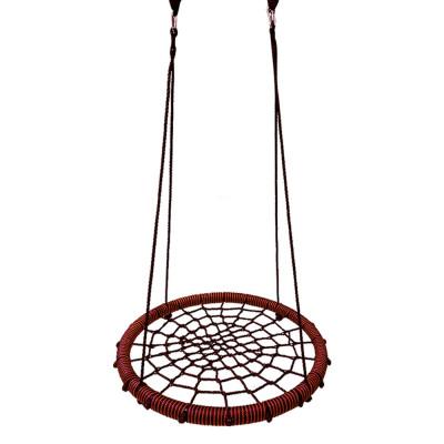 Качели гнездо детские подвесные уличные Baby grad 115 см черный красный с карабином