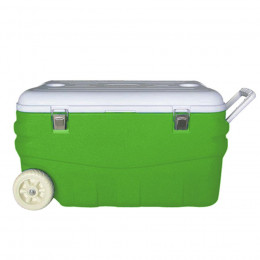 Изотермический контейнер Арктика 80 литров с колесами зеленый